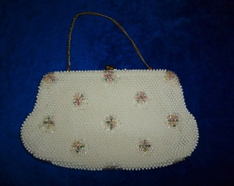 White Bakelite and Lucite beaded evening bag by Corde Bead USA