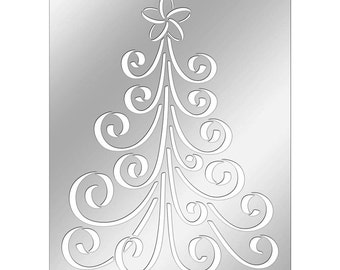 Stampendous Curly Christmas Tree Stencil - Metal Christmas Tree Stencil - Dreamweaver Metal Tree Stencil - Christmas Tree Stencil