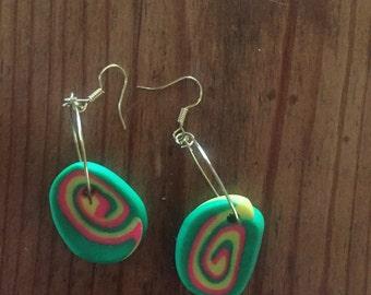Fun swirled polymer earrings