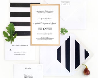 GRAPHIC STRIPES wedding invitation with envelope liner and response card