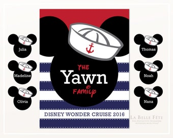 DISNEY CRUISELINE DOOR Decoration, customized with up to 6 names