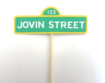 Customized Sesame Street Sign Centerpiece, Sesame Street Sign Cake Topper