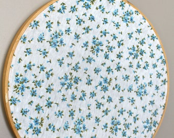 Vintage Fabric Embroidery Hoop Wall Art - Blue Floral Fabric / nursey decor / craft sewing room decor / hoop art / vintage home decor