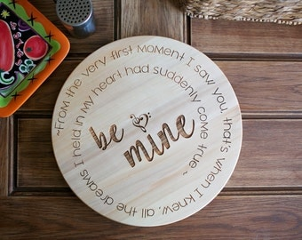 """Engagement gift engraved 15"""" wood lazy susan, kitchen organizer, gift for her, anniversary gift, wedding, housewarming gift, table organizer"""