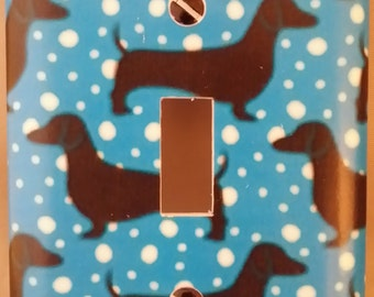 Dachshund Switchcover Blue with White Polka Dots