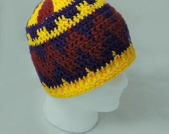 Aztec Zigzag Crochet Skullcap