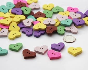 20mm x 16mm Heart Buttons, Wooden Buttons, Wood Buttons, Wood Heart Buttons, Painted Buttons, Painted Heart Buttons, Wood Buttons