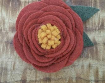 Large Copper/Rust wool felt Flower clip or headband