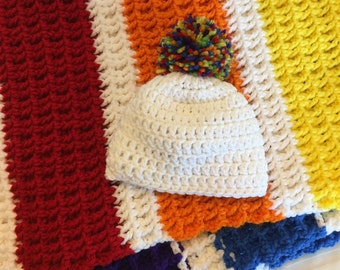 Rainbow Baby Blanketand Hat Set, Crocheted Baby Afghan with Coordinating Newborn sized Hat
