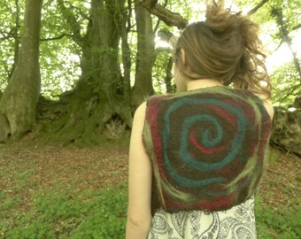 organic hand felted alpaca wool pixie waistcoat