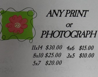 Any Digital Photography or Enhanced Photography Print Size and Price Lisiting