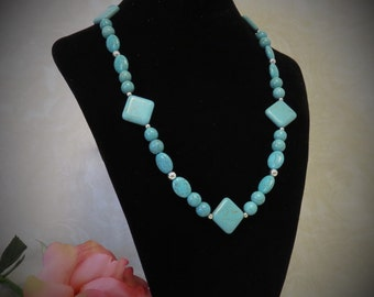 SALE !!! Turquoise Necklace w/ Diamonds, Rounds, Ovals and Silver Beads