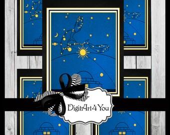 Greeting Card/Cards/Astrology/Planetarium/Planet/Aquarius/Leo/Horoscope/Any Occassion/Retro/DIY Card/Vintage Collage/Unusual/Collage