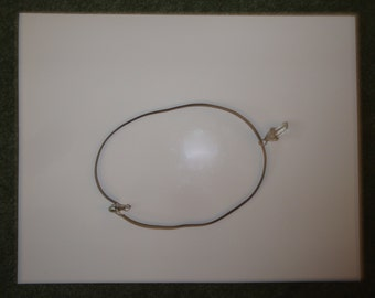 Men's Cord Necklace with Natural, Wire-wrapped Quartz Crystal