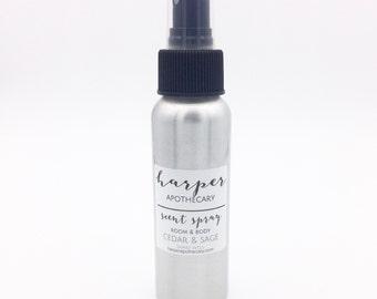 Cedar & Sage Room and Body Spray / Air Freshener / Essential Oil Spray / Odor Eliminating Room Spray / Essential Oil Room Mist /Smudge Spray