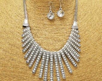 Silver Rhinestones Necklace Set
