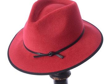 Classic Red Wide Brim Fedora