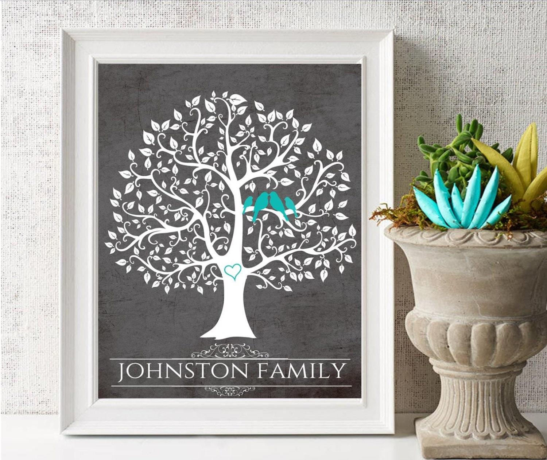 Family Tree Canvas Family Gift Blended Family Tree Wall Art