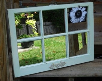 Antique window mirror and picture frame