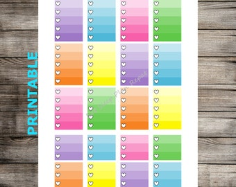 PRINTABLE for Happy Planner Black Outline Ombre Full Box and Half Box Checklists Planner Stickers To Do Tasks
