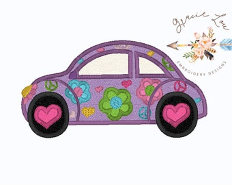 Groovy Slug Bug applique design, vw beetle bug applique 4x4 and 5x7 hoop designs