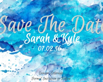 Save-the-Date Blue Watercolor