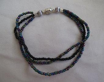 Dark multicolored seed bead bracelet