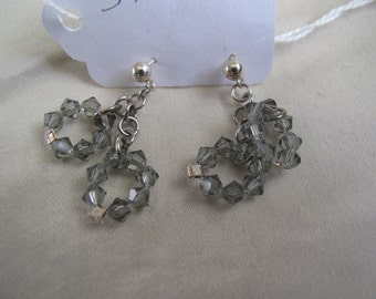 gray plasic bicone bead earings