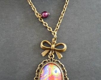 Nice necklace glass oval cabochon motif feathers muticolors