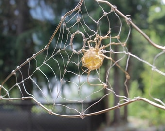 Spider web coat hanger, wire art, spider  wire art, wire sculpture