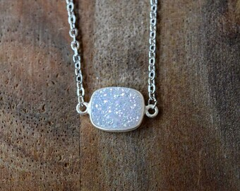 Silver and White Druzy Necklace