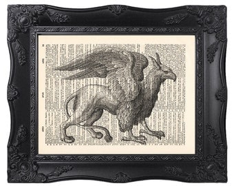 Griffin print, Dictionary art print, Mythologie print, Illustration print, Antique book page [ART 050]
