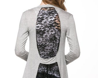 H-Gary Lace-Back Open Cardigan