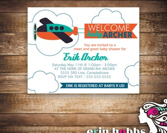 Fly Away Banner Baby Shower Invite