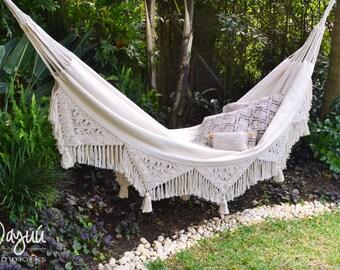 woven hammock, balcony furniture, macrame hammock, mothers day gift, cotton hammock, white hammock, tassel hammock, double hammock, hammock