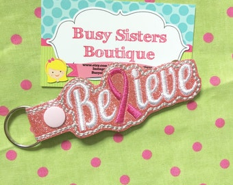 Believe key fob / key chain - pink glitter