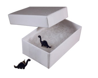 Apatosaurus Dinosaur Earrings in a White Jewelry Box - FREE SHIPPING