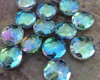 4 Round Disc Faceted Glass Crystal Beads, Blue Green, Cornflower Blue, AB Finish, 18mm