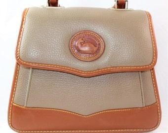 Vintage Dooney and Bourke Handbag, Top Handle, Taupe, Designer Handbag, Letter Carrier, Messenger, 313279