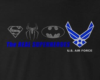 The Real SUPERHEROES U.S. Air Force T-shirt, U.S. Air Force T-shirts, US Air Force Tees, Heroes, Air Force T-shirts