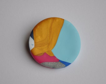 Polymer Clay Brooch - Gold/Pink Medium
