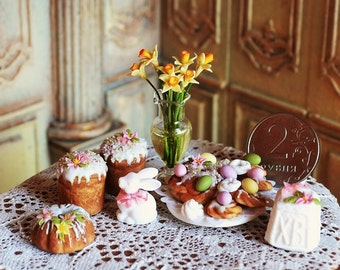 Dollhouse Miniature Easter ,Easter bakery products,  cakes, Easter sweets , 1:12 scale, polymer clay