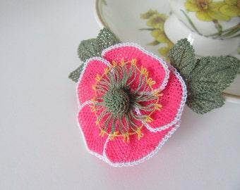 Oya brooch, Needlework Oya brooch, flower brooch handmade, needle lace anemone
