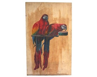 Vintage parrot painting