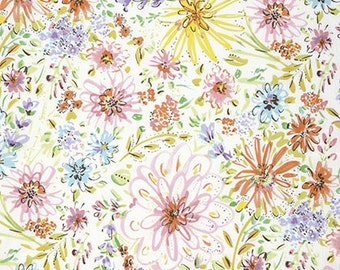 SALE Dena Designs Butterfly Garden Watercolor Floral in White Fabric - Summer Floral - Watercolor Fabric - Sale Fabric by the Yard