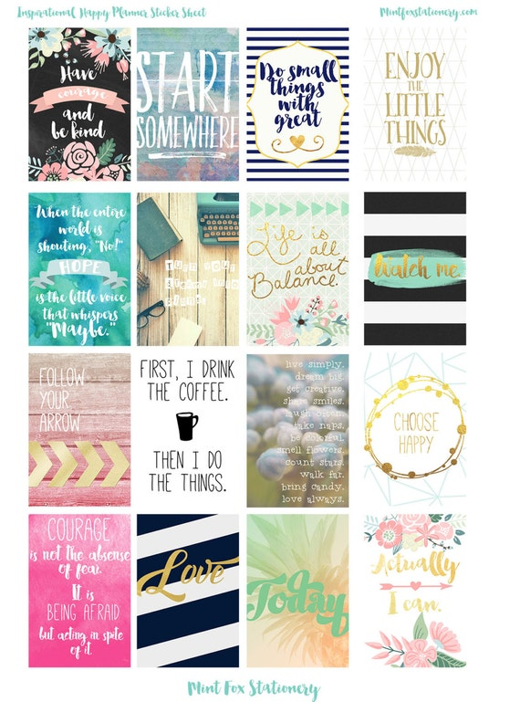 Happy Planner Digital Inspirational Quote Full Box Stickers
