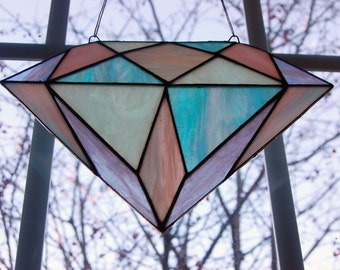 Handcrafted Stained Glass Diamond Suncatcher