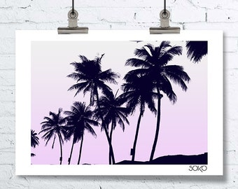 Displays black and white palm, palm trees, tropical wall art, decor botanque, black and white modern