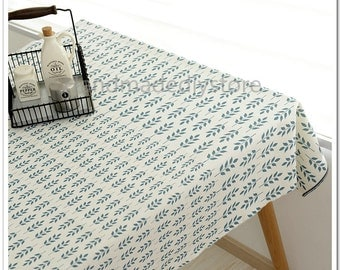 Lake Blue Leaf Table Cover Fabric, Cotton Linen Blend Printing Fabric for Tablecloth/ Curtain/ Sofa/ Bag(JJ50)