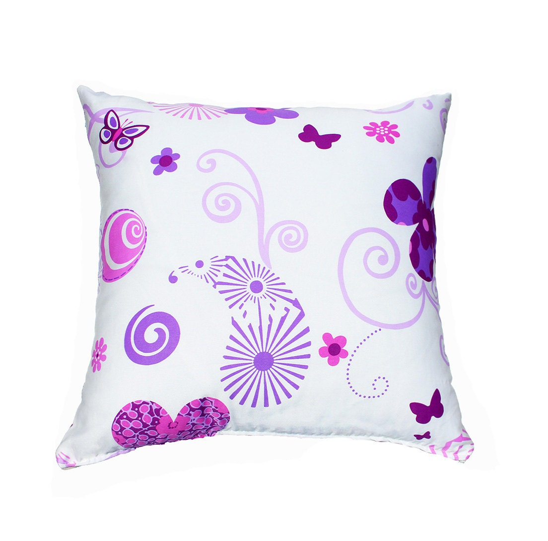 Hearts pillow cover Hearts Butterflies Swirls Purple